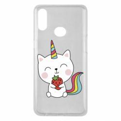Чохол для Samsung A10s Cat unicorn and strawberries