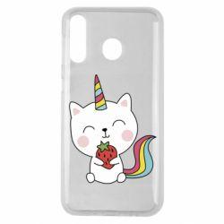 Чохол для Samsung M30 Cat unicorn and strawberries