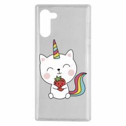 Чохол для Samsung Note 10 Cat unicorn and strawberries