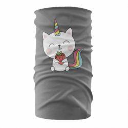 Бандана-труба Cat unicorn and strawberries