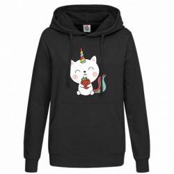 Толстовка жіноча Cat unicorn and strawberries