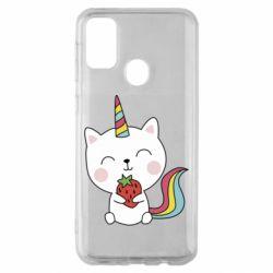 Чохол для Samsung M30s Cat unicorn and strawberries