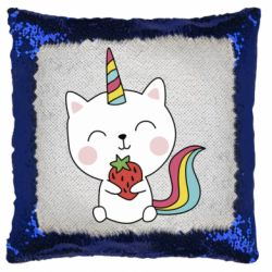 Подушка-хамелеон Cat unicorn and strawberries