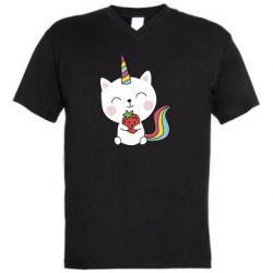 Чоловіча футболка з V-подібним вирізом Cat unicorn and strawberries