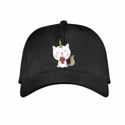 Дитяча кепка Cat unicorn and strawberries