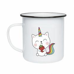 Кружка емальована Cat unicorn and strawberries