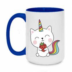 Кружка двоколірна 420ml Cat unicorn and strawberries