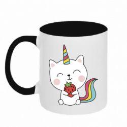 Кружка двоколірна 320ml Cat unicorn and strawberries