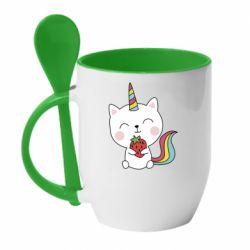 Кружка з керамічною ложкою Cat unicorn and strawberries