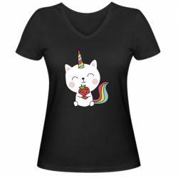 Жіноча футболка з V-подібним вирізом Cat unicorn and strawberries