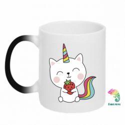 Кружка-хамелеон Cat unicorn and strawberries