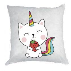 Подушка Cat unicorn and strawberries