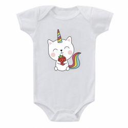 Дитячий бодік Cat unicorn and strawberries