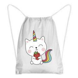 Рюкзак-мішок Cat unicorn and strawberries