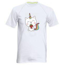 Чоловіча спортивна футболка Cat unicorn and strawberries
