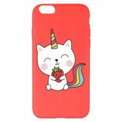 Чохол для iPhone 6 Plus/6S Plus Cat unicorn and strawberries
