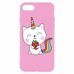 Чохол для iPhone 7 Cat unicorn and strawberries