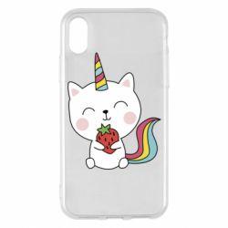 Чохол для iPhone X/Xs Cat unicorn and strawberries