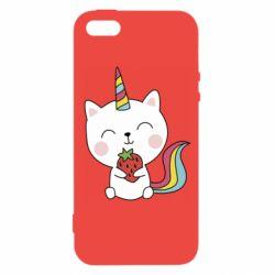 Чохол для iphone 5/5S/SE Cat unicorn and strawberries