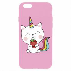 Чохол для iPhone 6/6S Cat unicorn and strawberries