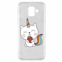 Чохол для Samsung A6 2018 Cat unicorn and strawberries