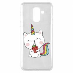 Чохол для Samsung A6+ 2018 Cat unicorn and strawberries