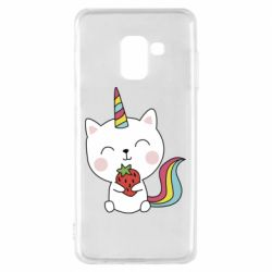 Чохол для Samsung A8 2018 Cat unicorn and strawberries
