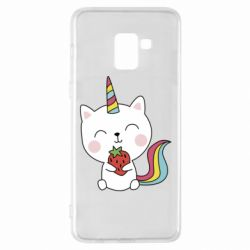 Чохол для Samsung A8+ 2018 Cat unicorn and strawberries