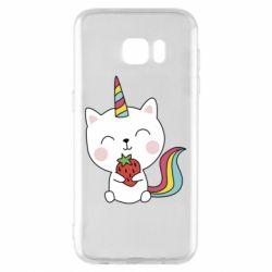 Чохол для Samsung S7 EDGE Cat unicorn and strawberries