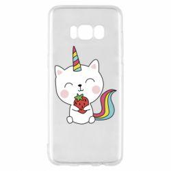 Чохол для Samsung S8 Cat unicorn and strawberries