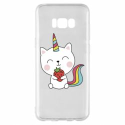 Чохол для Samsung S8+ Cat unicorn and strawberries