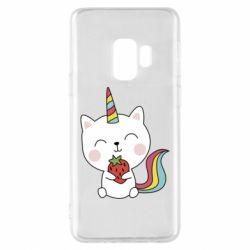 Чохол для Samsung S9 Cat unicorn and strawberries