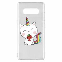 Чохол для Samsung Note 8 Cat unicorn and strawberries