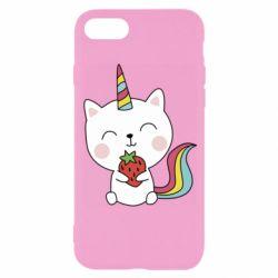 Чохол для iPhone 8 Cat unicorn and strawberries