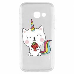 Чохол для Samsung A3 2017 Cat unicorn and strawberries