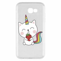 Чохол для Samsung A7 2017 Cat unicorn and strawberries
