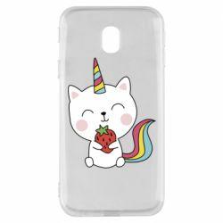 Чохол для Samsung J3 2017 Cat unicorn and strawberries