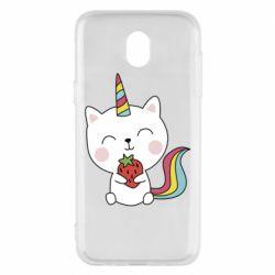 Чохол для Samsung J5 2017 Cat unicorn and strawberries