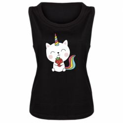 Майка жіноча Cat unicorn and strawberries