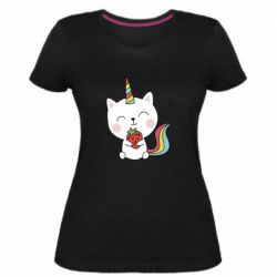 Жіноча стрейчева футболка Cat unicorn and strawberries