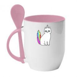 Кружка с керамической ложкой Cat Unicorn