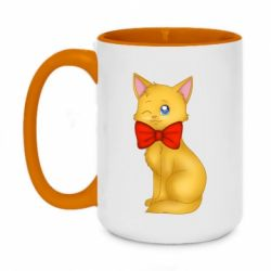 Кружка двоколірна 420ml Cat with a bow