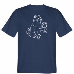 Чоловіча футболка Cat with a glass of wine