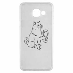 Чохол для Samsung A3 2016 Cat with a glass of wine
