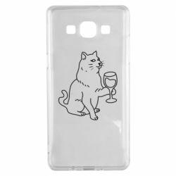 Чохол для Samsung A5 2015 Cat with a glass of wine