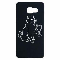Чохол для Samsung A5 2016 Cat with a glass of wine