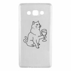 Чохол для Samsung A7 2015 Cat with a glass of wine