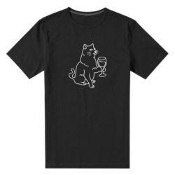Чоловіча стрейчева футболка Cat with a glass of wine