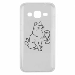 Чохол для Samsung J2 2015 Cat with a glass of wine