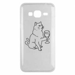Чохол для Samsung J3 2016 Cat with a glass of wine